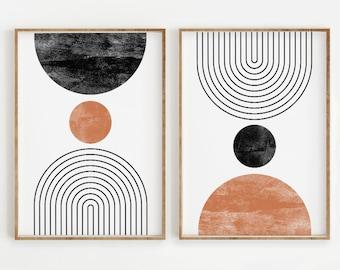 Mid Century Modern Wall Art Print Set of 2, Neutral Abstract Geometric Digital download Prints, Black White Orange Minimal Gallery Art