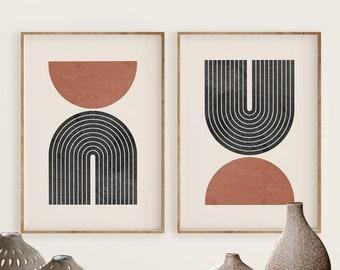 Geometric Wall Art, Mid Century Modern Art Print, Digital download, Abstract circle shapes, Minimal Black Terracotta Printable Art, Rainbow