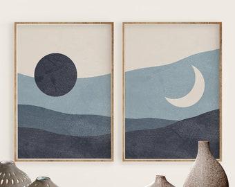 Boho Sun and Moon Print Set of 2, Abstract Landscape, Navy Blue Printable Mid Century Modern Minimal Wall Art, Digital download, Prints