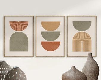 Geometric Art Print Set of 3, Mid Century Modern Art, Geometric Wall Art, Semicircle Shapes, Digital Abstract Terracotta Green Art