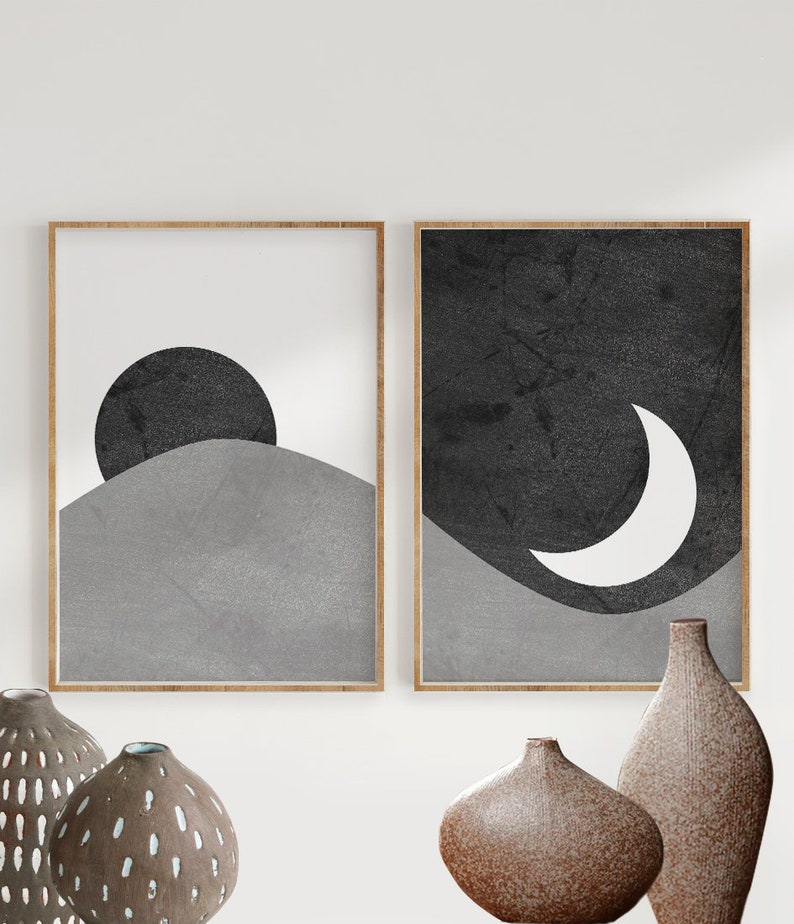 Black and White Sun and Moon Print Set of 2 Abstract image 0