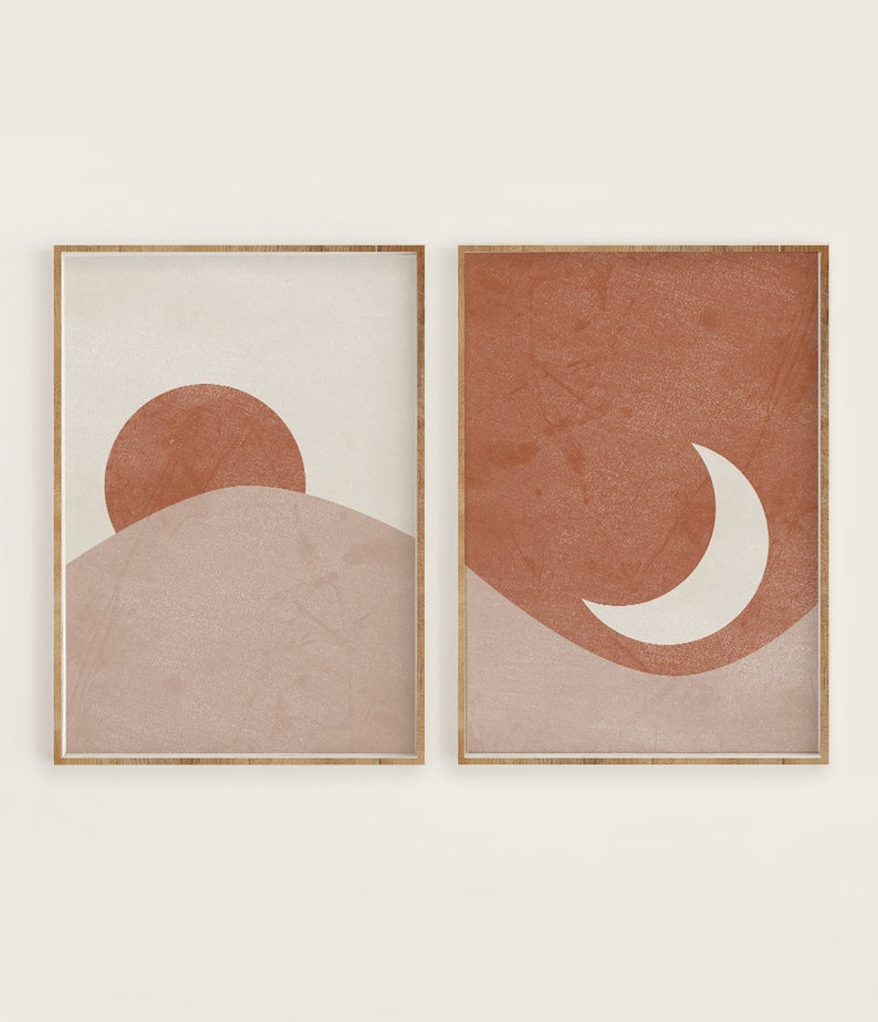 Sun and Moon Print Set of 2 Abstract Landscape Terracotta image 0
