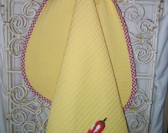 "Tea towel embroidered ""spice"" to hang handmade"