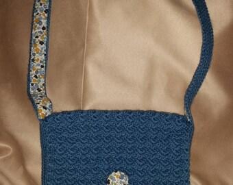 hand-made crochet clutch shoulder bag