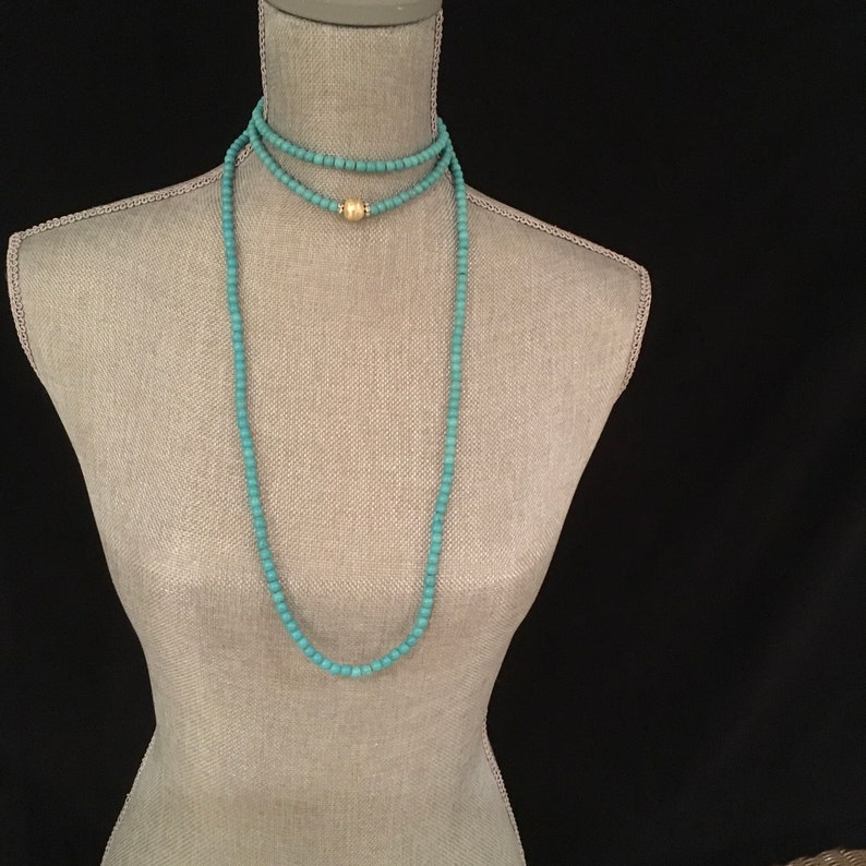 good omens karma 1920s flapper style Art Deco designer inspired Long beaded Turquoise necklace Downton Abbey Great Gatsby boho bijoux