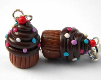 Sweet chocolate cupcake earrings