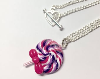 Purple lollipop necklace