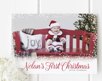 Baby First Christmas Card Etsy