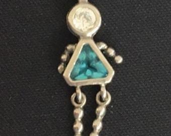 3bd62d17d Vintage Silver 925 Girl Charm / December Birthstone Color / Medium Blue /  Charm for Bracelet / for Necklace / Collectible