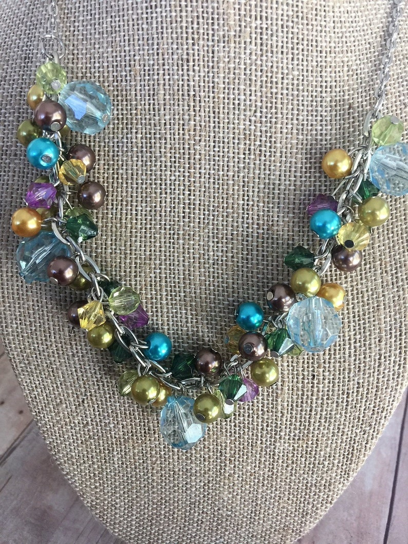 Beautiful Vintage Necklace Loaded with Dangling Beads  Beads of Many Colors  Silver Tone Chain  Long Necklace  Gift Idea