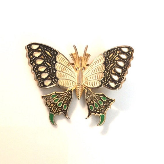 Vintage 80s Set of Butterfly Brooch and Earrings