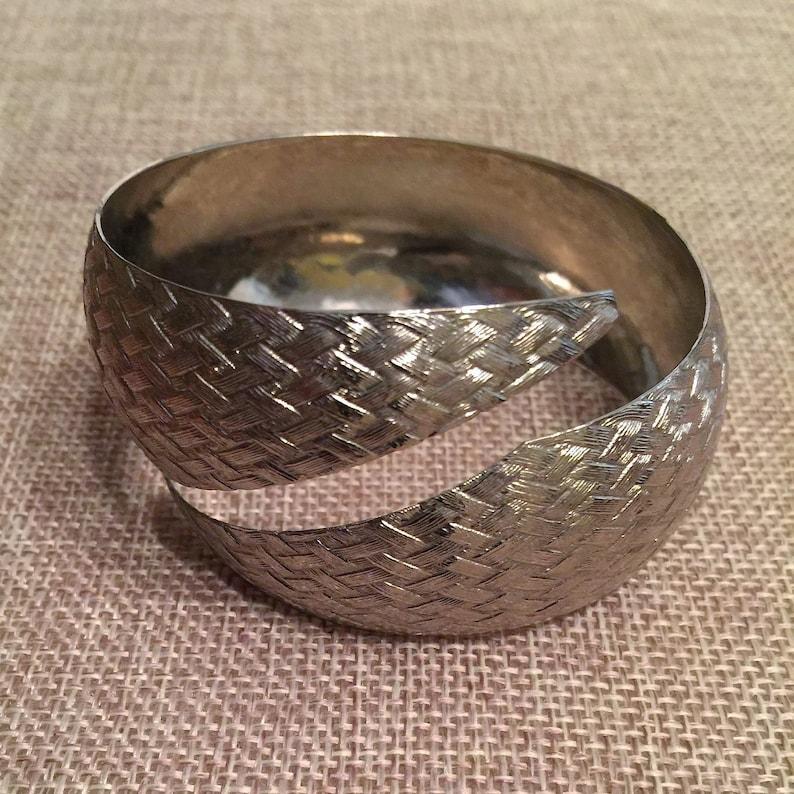Vintage Silver Tone Cuff Bracelet with Basket Weave Design  Vintage Cuff Bracelet  Vintage Jewelry Gift Idea  Brushed Surface Design