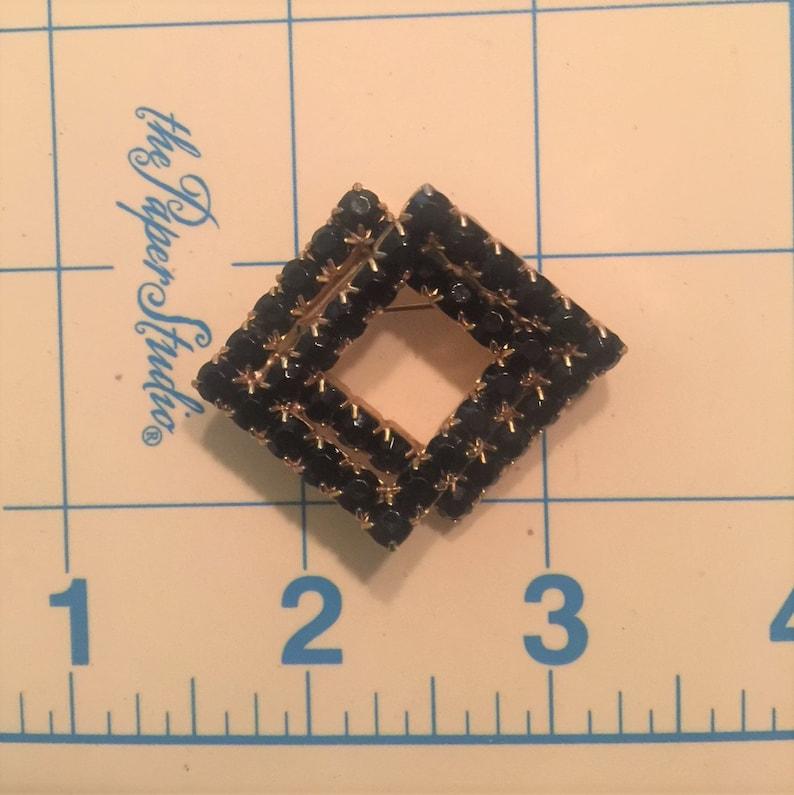 Beautiful Vintage Black Rhinestone Double Diamond Shaped Brooch  Vintage Fashion  Black Stones  Classic Black  Gift Idea for Her