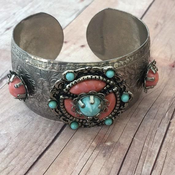 Vintage costume jewelry small cuff bracelet with glass orange rust colored stone silvertone silver tone costume jewelry