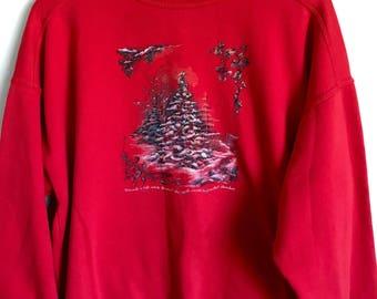 Red holiday crewneck sweatshirt // 90s ugly sweater sweatshirt