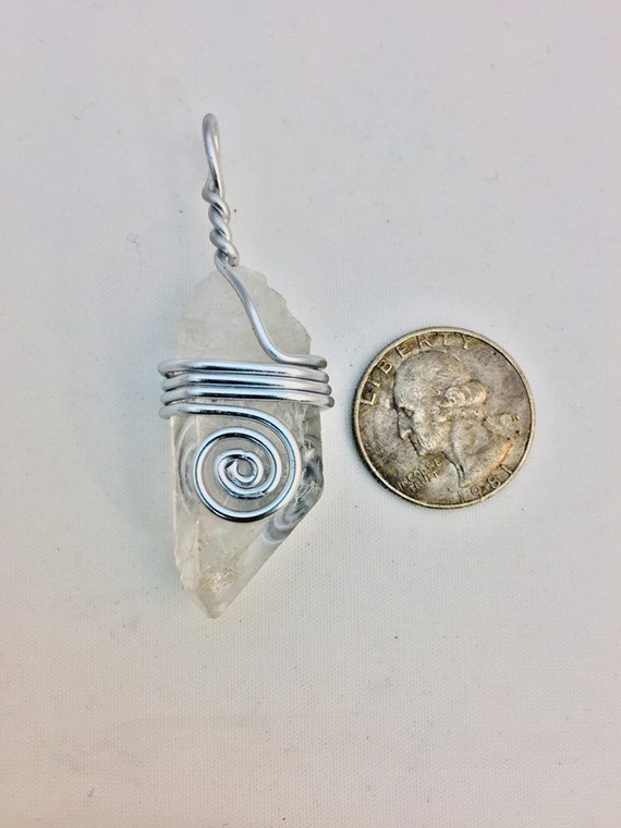 Unique QuartziteKyanite Twisted Wire Wrapped Pendant