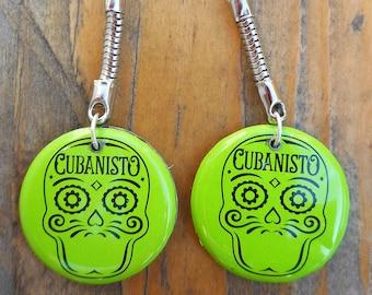 Earrings Dia de Muertos green and black