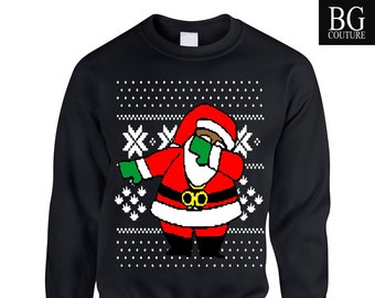 9c87ced6 Ugly Christmas Sweater - Dabbing Santa Shirt - Funny Ugly Christmas Sweater  - Heavy Blend Crewneck Sweatshirt