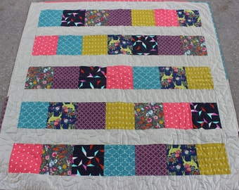 New Modern Block Quilt (52 in x 53 in) - FREE SHIPPING