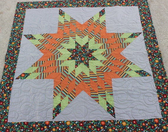 New Harvest Burst Native American Star Quilt 58 In X 57 In Etsy
