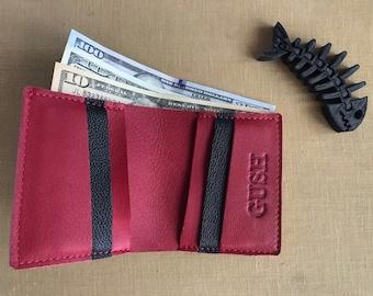 Red leather wallet woman Leather slim wallet bifold Mens wallet Minimalist wallet Unisex wallet Front pocket wallet Cash wallet card holder