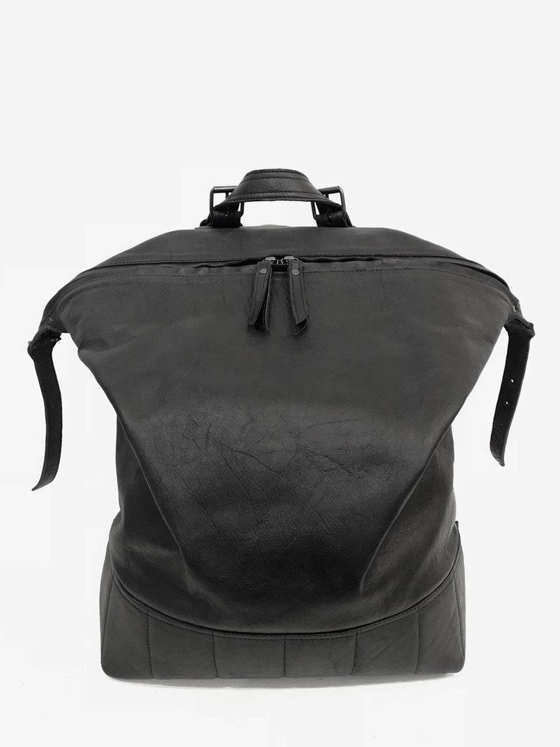 1e1d49b046 Unisex Leather Black Backpack Big Leather Backpack Mens
