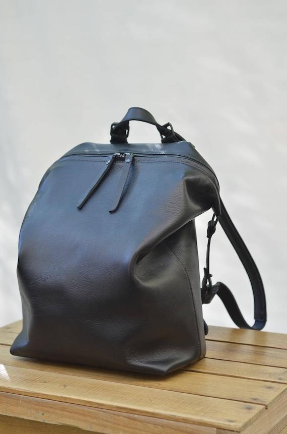 d69eb9d279 Black Leather backpack women Big Leather Backpack Mens