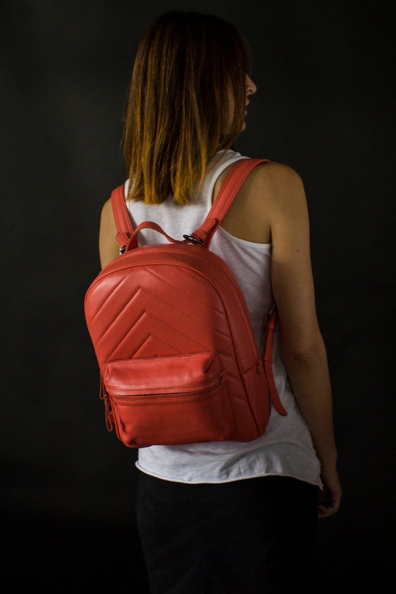 Leather backpack women in coral pink color leather rucksack with front pocket laptop pink backpack minimalist women/'s leather bag