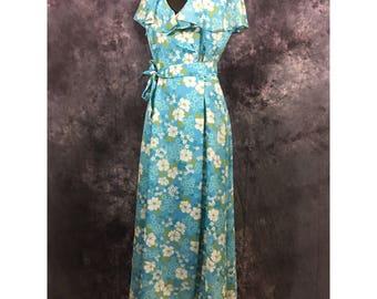 Vintage Sleeveless Floral Maxi Wrap Dress 13/14