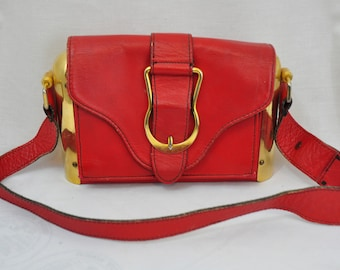 5671053cb82d Vintage Retro Red purse shoulder bag with metal ends 80s  90s steampunk rockabilly