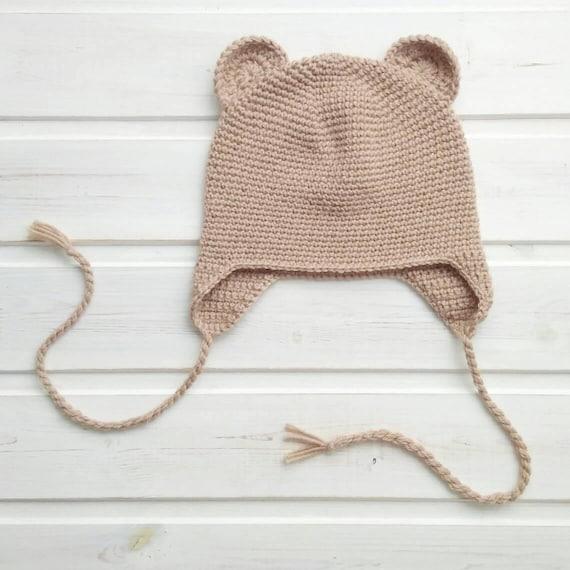 Toddler bear hat Knit infant hat with ears Newborn crochet hat  50c99c801e4