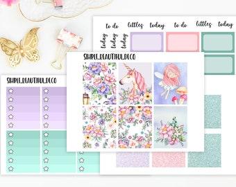 Weekly Planner Stickers, Unicorn Planner Stickers, Kit Weekly Planner Stickers Fairy Full Boxes, Erin Condren, Recollections