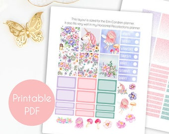 Printable Planner Stickers, Unicorn Planner Stickers, Kit Weekly Planner Stickers Fairy Full Boxes, Erin Condren, Recollections