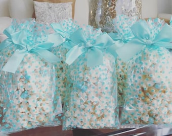 beach bridal shower themed chocolate drizzled popcorn