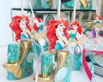 The Little Mermaid, Under the Sea Themed Chocolate Covered Rice Krispies Treats
