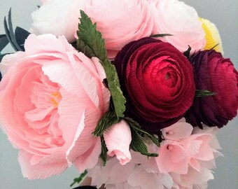 Crepe paper flower etsy wedding bouquet high quality crepe paper flowers choose how many do you need 5 or 9 wedding flowers bouquet paper wedding mightylinksfo