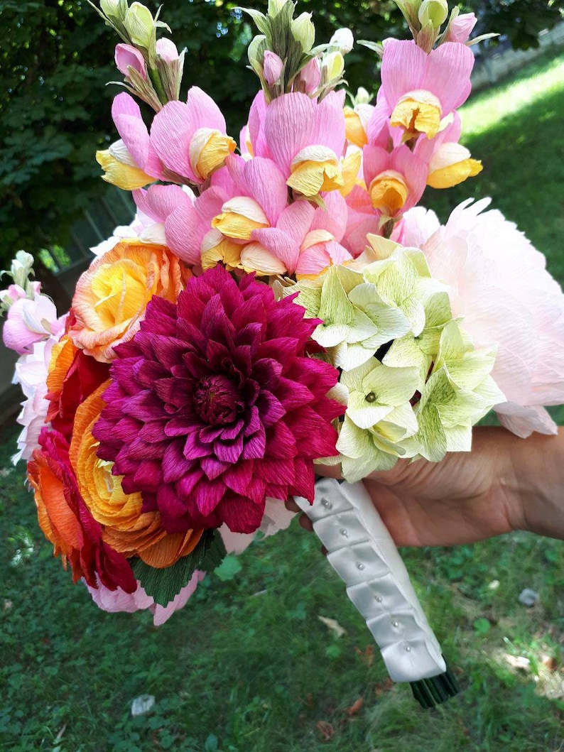choose how many do you need 5 or 9 .. Wedding bouquet  high quality crepe paper flowers wedding flowers bouquet paper wedding