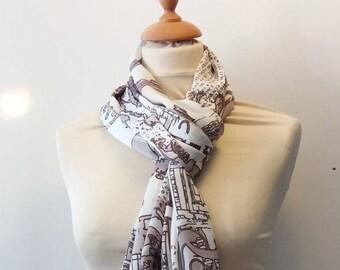 Golden brown graphic scarf