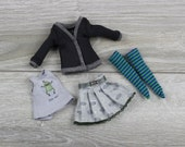 Blythe doll shirt gray frog print jacket black skirt dress socks green outfit clothes 1 6 30 cm