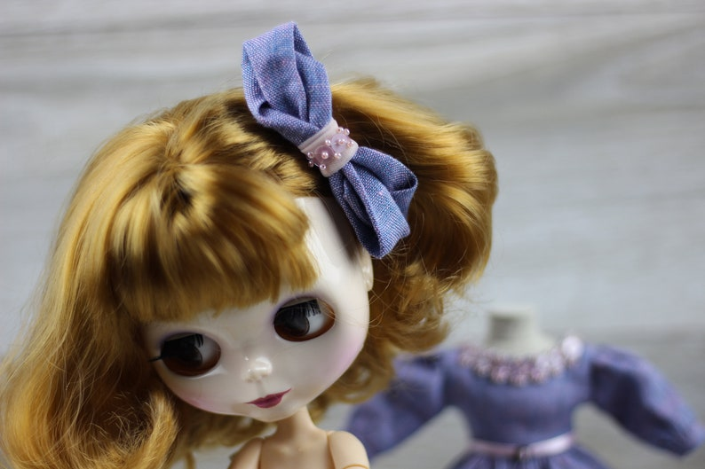 Blythe doll outfit dress lilac socks Petticoats Barrette accesories clothes 1//6