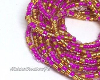 Iridescent purple and Krobo beads Ghana Waist Beads sets with clasp Waist beads MaidenCreationsGH Yellow waist Beads African Waist Beads