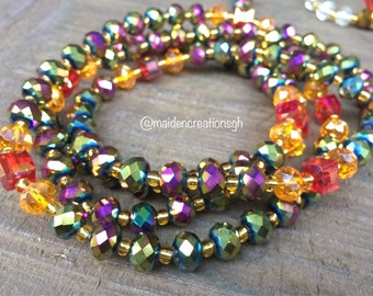 African Waist Beads. Glass Seed Beads. Ghana Waist Beads sets with clasp. Iridescent purple, Red and Amber. Waist beads MaidenCreationsGH