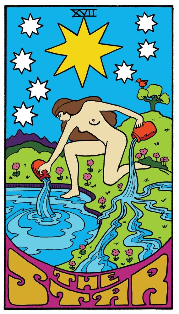 The Star Tarot Illustration Print by Dawn Aquarius