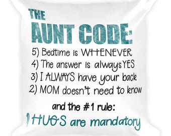 funny aunt gift square pillow best aunt ever aunt code hugs are mandatory pillow fight christmas gift