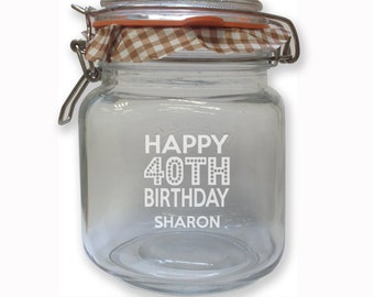 Home & Garden Glass Personalised Sweet Sweetie Treat Jar Gift Any Name Couples Other Candy, Gum & Chocolate