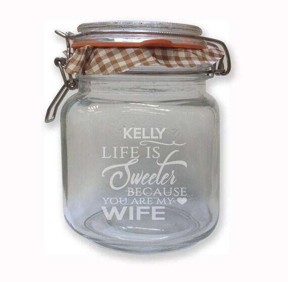 engraved wife sweet candy jar kilner 1 litre clip top glass etsy