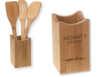 Engraved bamboo utensil holder, wood spoon, spatula slotted spoon - 4 pc MUMMY kitchen gift - UTS-SEA1