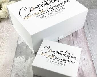 Personalised Engagement Congratulations gift box, card box, keepsake storage box, couples engagement gift - BOX-CON