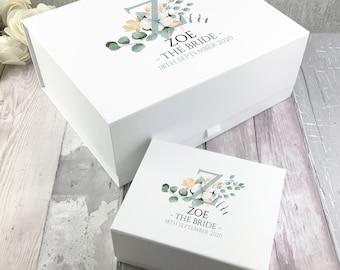 Personalised BRIDE gift box, wedding keepsake hamper, bridal party, Initial, Sage green floral design - BOX-GLE5