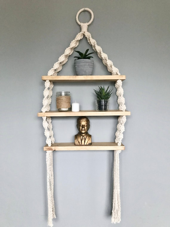 Twisted Macrame Hanging Shelf